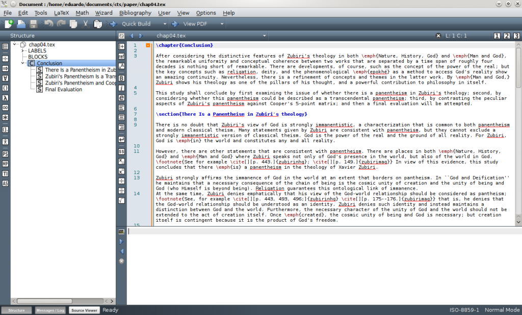Screenshot of Texmaker running under KDE 4.14.1.