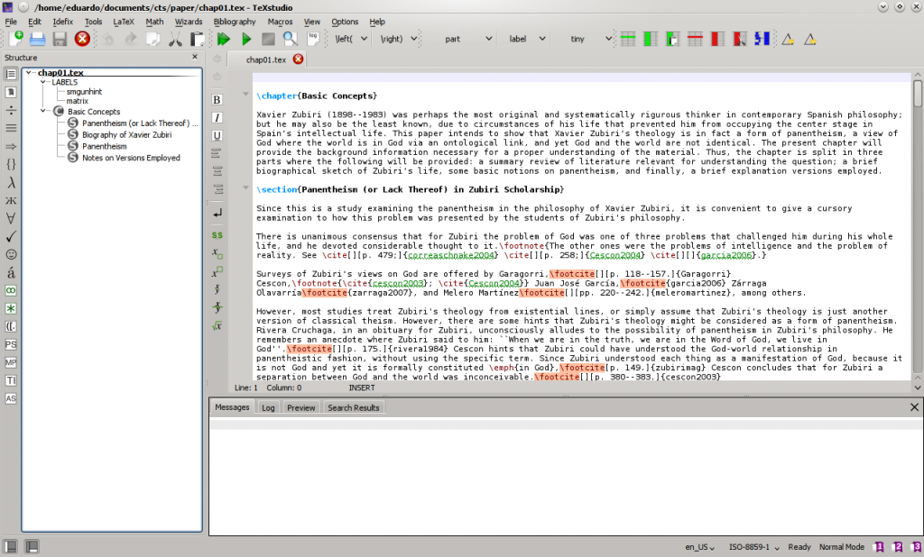 Screenshot of TeXstudio 2.8.4 running under KDE 4.14.1.