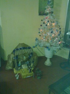 manger scene and Christmas tree